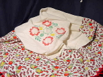Vintage Cotton Tablecloth W/ Stenciled Flower Design