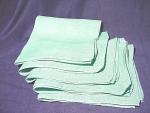 Set Of (5) Vintage Turquoise Linen Napkins Face Clothes Serviettes