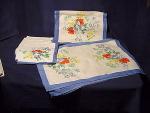 Vintage Printed Linen Placemats Place Mats Napkins Serviettes Table Runner Set
