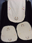 Set Of (3) Vintage Table Scarves With Lace Edging