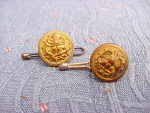 Pairof Officers Antique Gold Plated Eagle Cufflinks Buttons