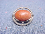Vintage Pewter Button With Imitation Goldstone