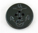 Black Bakelite Navy Coat Anchor Button