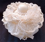 Hand Made Tufted Dresser Jar With Lace