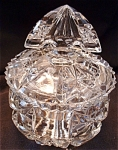 Crystal Pressed Glass Dresser Or Powder Jar