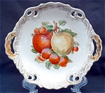 Reticulated Open Handled Bowl With Fruit Decoration