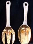 Harker Pottery Salad Or Serving Fork & Spoon