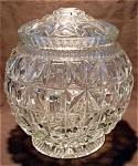 Pressed Glass Crystal Biscuit Cookie Jar