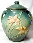 Roseville Zephyr Lily Green Cookie Jar