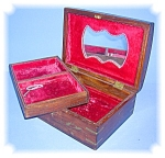 Wood Inlay Box, Lined In Red Velvet With Mirror