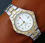 Swiss Army Wenger Ladies Silver And Gold Wristwatch