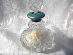 Cut Glass Hallmarked Silver & Enamel Bottle