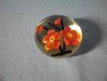 Beautiful Glass Paperweight With Red Flowers.