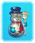 Signed Sfl Snowman Christmas Brooch Pin