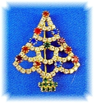 Sparkling Rhinestone Christmas Tree Brooch Pin