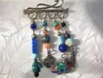Sterling Silver & Multi Bead Designer Brooch