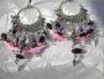 Silvertone Rose Quartz Bird Earrings