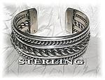 Native American Sterling Silver Cuff Signed J