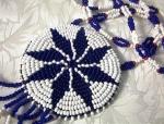 Doeskin Red White Blue Black Beaded Ethnic Necklace