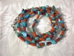 Turquoise & Natural Coral Necklace 31 Inches