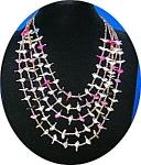 Heishi Birds 5 Strand Necklace Pink Blue Gold Tan