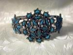 Pull Apart Silvertone & Faux Turquoise Bracel