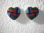 Native American Sterling Silver Inlaid Heart Post