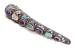 Oriental Chinese Jewel Silver Enamel Nail Guard Brooch