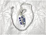 Sterling Silver Blue Lapis Opal Arrow Inlay Pendant