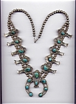Native American Sterling Silver Turquoise Squash Blosso