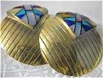 Large Goldtone Indian Motif Earrings