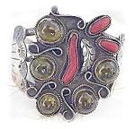 Native American Sterling Silver Coral Peridot Cuff