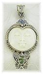 Large Sterling Silver Peridot Opal Face Penda
