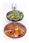Rare Sterling Silver Green And Honey Amber Pendant