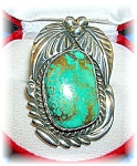 Native American Turquoise Blue Green Sterling Silver Ri