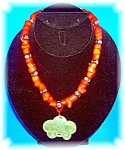 Sterling Silver Coral Glass Jade Artist Necklace