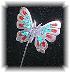 Silver Turquoise And Coral Chip Inlay Butterfly Lapepin