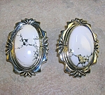 White Buffalo Turquoise Sterling Silver Clip Earrings