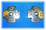 Sterling Silver Native Americansigned Lou Clip Earrings