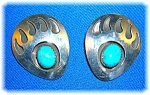 Turquoise Sterling Silver Signed Sj Bear Paw Earrings