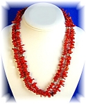 Native American Coral Sterling Silver 2 Strands