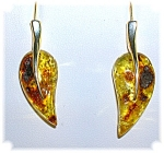 Amber Sterling Silver Earrings Signed V
