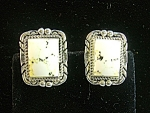 Sterling Silver White Buffalo Turquoise Clips Signed E