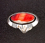 Native American Gerry Platero Spiny Oyster Sterling Rin