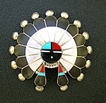Native American Sterling Silver Onyx Turquoise Coral Pi