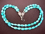 Necklace Sterling Silver Blue 2 Strands Turquoise