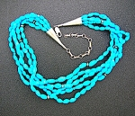 Necklace Turquoise Sterling Silver 5 Strand