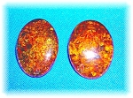 Amber Sterling Silver Clip Earrings 80s