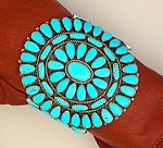 Native American Silver Turquoise Bracelet 40s-50s