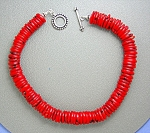 Coral Sterling Silver Toggle Clasp Necklace